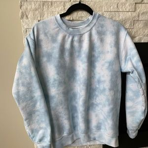 Baby blue tie dye crew sweater, Oversized